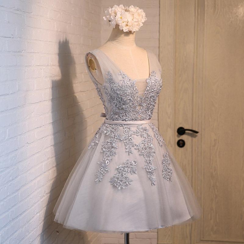 Gray V-neck Short Lace Bridesmaid Dress