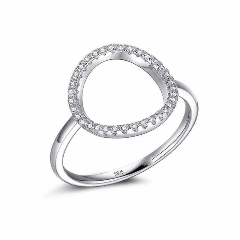 แฟชั่นคลาสสิก Hollow out Hoop ประกาย SONA แหวนเพชรเครื่องประดับแท้ 925 สเตอร์ลิงเงิน Midi แหวนสตรีขนาด 5-9