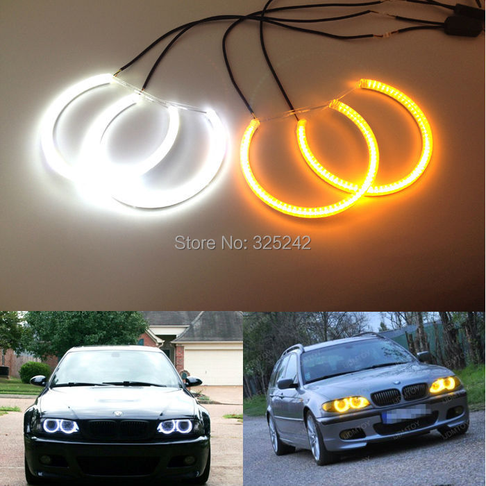 For BMW E36 318/320/323/325 1992-1998 Excellent Ultrabright Dual Color Switchback smd LED Angel Eyes Halo Rings Kit top upper mount for bmw 3 serie s e46 320 323 325 328 m3 1998 2005 blue front coilovers camber plate plates suspension domlager