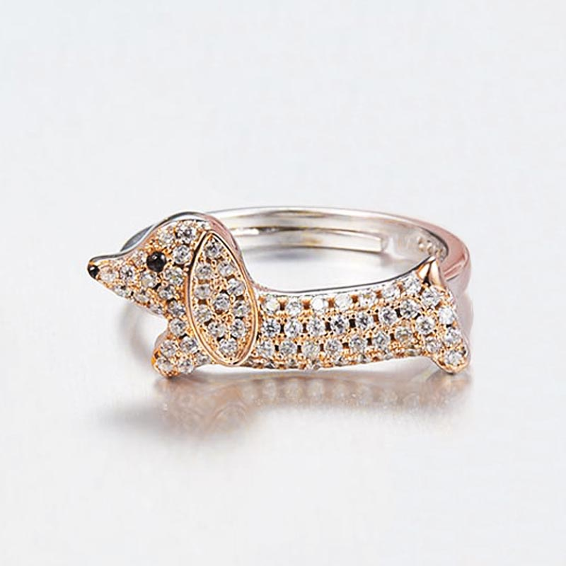 Pink Bushes New Arrival Dachshund Canine Ring For Ladies Birthday Reward Adjustable Measurement 925 Sterling Silver Rings Animal Effective Jewellery