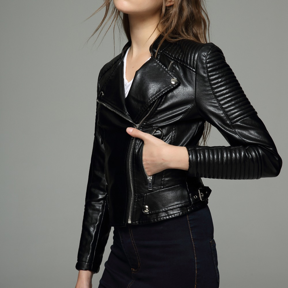 Winter   Leather   2019 autumn new high Fashion street brand style Women PU   Leather   Short Motorcycle Jacket Outerwear top quality