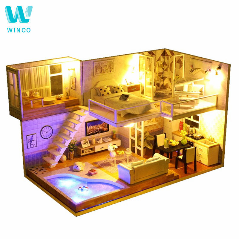 WINCO DIY Doll House Miniature Dollhouse with Furnitures LED 3D Wooden House Toys For Children Christmas Gift Handmade CraftsWINCO DIY Doll House Miniature Dollhouse with Furnitures LED 3D Wooden House Toys For Children Christmas Gift Handmade Crafts