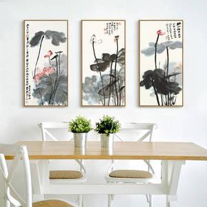 Image 3 - Китайская живопись чернилами Печать холст Чжан дацянь художественные работы цветок лотоса Плакаты HD печать Настенная картина для гостиной украшения