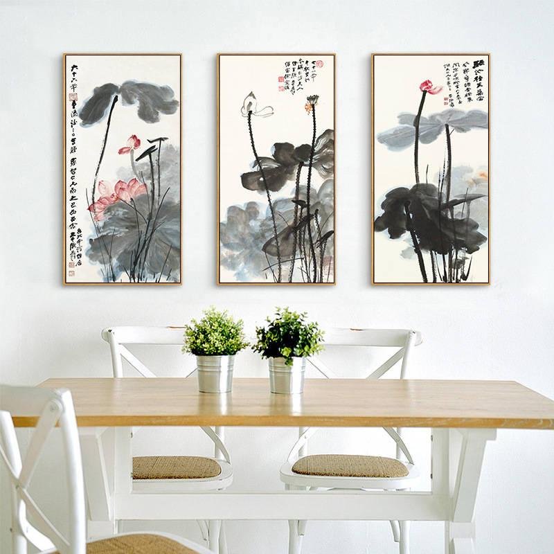 Image 3 - Chinese Ink Painting Print Canvas Zhang Daqian Artwork Lotus Flower Posters HD Print Wall Art Picture for Living Room Decoration-in Painting & Calligraphy from Home & Garden