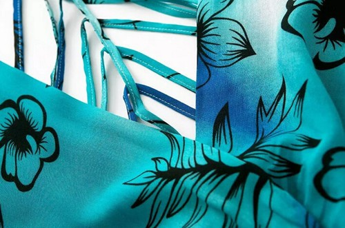 Boho Cross Deep V-Neck Floral Print Hollow Backless Skater Ruffles Short Jumpsuit 7