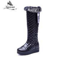SGESVIER Women Shoes Simple Style Mid Calf Boots Sweet Rabbit Hair Lady Shoes Warm Plush Boots New Winter 2017 Size 35 42 OX122