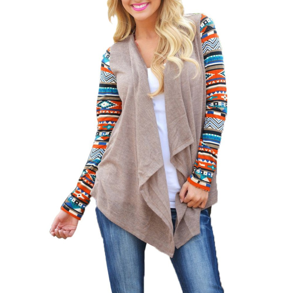 Sweater Coat Cardigans-Jacket Pull Knitted Poncho Tribal Asymmetrical Long-Sleeve Print