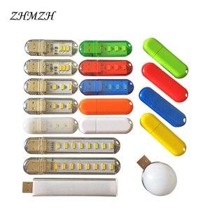 Image 2 - 2PCS/lot Portable U Disk LED Lamp 3LEDs 1.5W Reading Lamps USB Night Lights Mini Book Light DC 5V Power Bank Powered 12 colors