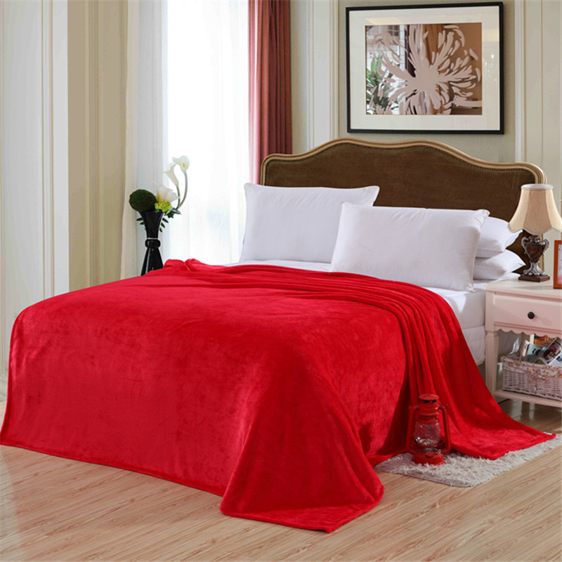 Red solid color bed cover blanket blanket soft and comfortable flannel 4 size