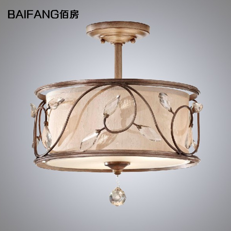 American style fabric ceiling light rustic crystal lamp cloth art iron ceiling light