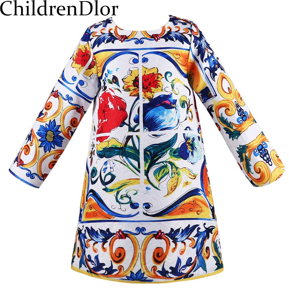 Girls Winter Dress 2017 Brand Kids Dresses for Girls Clothes Long Sleeve Majalica Print Princess Dress Baby Girls Dress Children girls dresses winter 2017 brand children dress princess costumechild dog cat house print pattern kids dresses for girls clothes