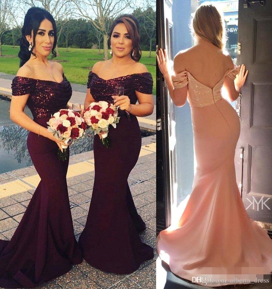 Purple 2019 Cheap   Bridesmaid     Dresses   Under 50 Mermaid V-neck Cap Sleeves Sequins Long Wedding Party   Dresses   For Women