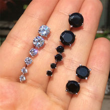 Fashion 925 Sterling Silver Cubic Zirconia Studs Earrings Mens Round Black Cz Stones 3 4 6mm Small Women Sets Lots
