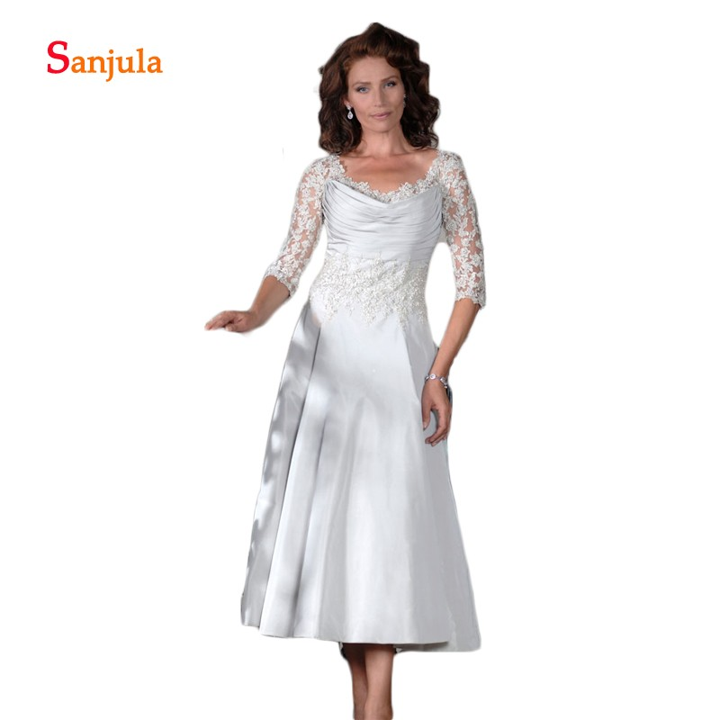 Light Grey Satin Mother Of The Bride Dresses Elegant A-Line Tea-Length Half Appliques Sleeve Women Formal Dresses Pleats D1047