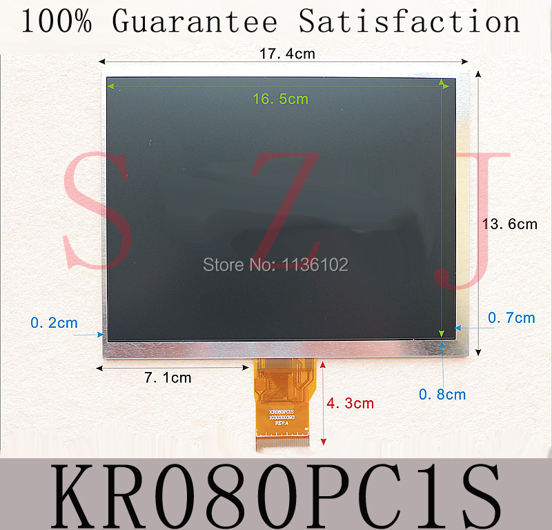 (Ref:KR080PC1S) Original 8 inch LCD screen display Free shipping 5Pcs/lot