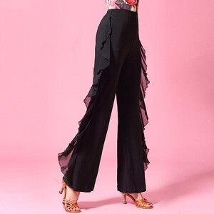 Image 3 - Moda Modern gazlı bez seksi Latin dans kostümü uygulama elbise uzun pantolon kadın/kadın, balo salonu performans giyer KT0211