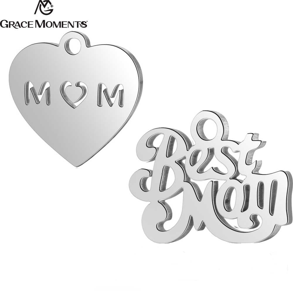 20pcs/Lot Grace Moments Stainless Steel Charms Hollow Out Heart Best Mom Charms Pendant for Fashion Jewelry Making DIY Handmade