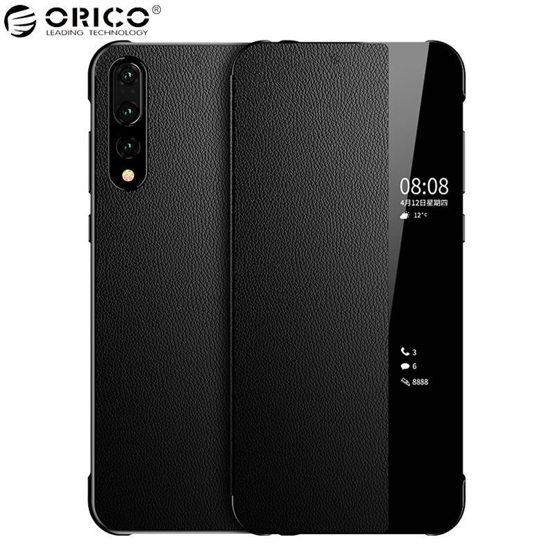 HUAWEI P20 Pro Case Genuine Leather Original Smart View Window Plating Mirror Soft Silicone Protect Flip Cover HUAWEI P20 Case