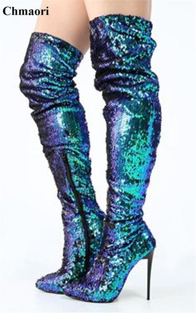 Bling Bling Fashion Glittering Peacock Green Sequin Over Knee High Heel  Boots Stiletto Heel Long Boots Sexy Evening Boots 6e30b471d1ab