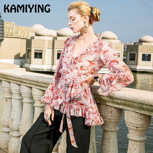 KAMIYING 2019 new slim casual ruffled hem shirt with women's summer dress silk stitching floral blouse and top slip PKHA268