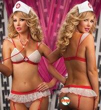 Hot 2016 Senhoras Lingerie Sexy hot Sheer impertinente uniforme da enfermeira lingerie sexy sutiã + t-calças Cruz Vermelha erótico lingerie