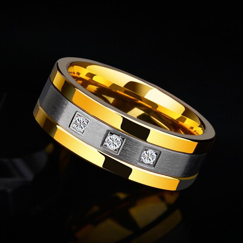 Nouveauté 8mm anneaux de tungstène pour hommes plaqué or bandes de mariage deux tons 3 CZ pierre promesse mariage taille 7-12 pour la mariée - 2