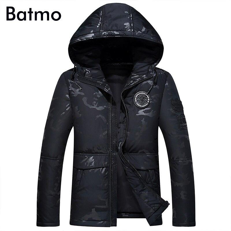 Batmo 2017 new arrival winter high quality keep warm white duck down hooded black jacket men,camouflage winter coat men,Y17