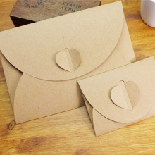 50pcs/lot Handmade Heart Kraft Envelope Vintage Envelopes Retro Stationery Set Postcard Photo Storage Christmas Gift Package