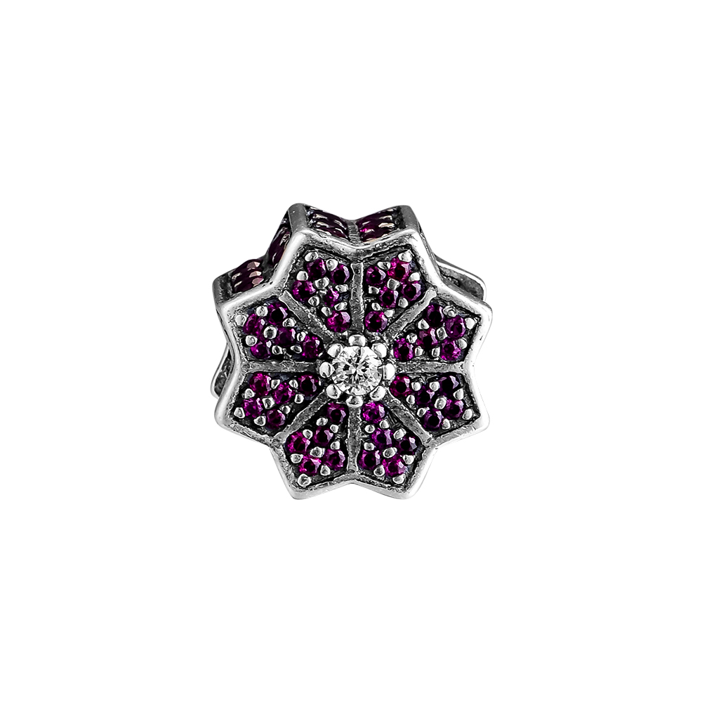 CKK Poinsettia Charm Bead Charms Red Clear CZ Fit Original Bracelets sterling silver jewelry women Beads for Jewelry Making CKK Poinsettia Charm Bead Charms Red Clear CZ Fit Original Bracelets sterling silver jewelry women Beads for Jewelry Making