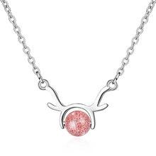 Everoyal Cute Crystal Pink Elk Pendant Necklace For Women Jewelry Vintage Silver 925 Sterling Necklace For Girls Female Bijou equte elegant crystal dolphin pendant necklace for women silver pink