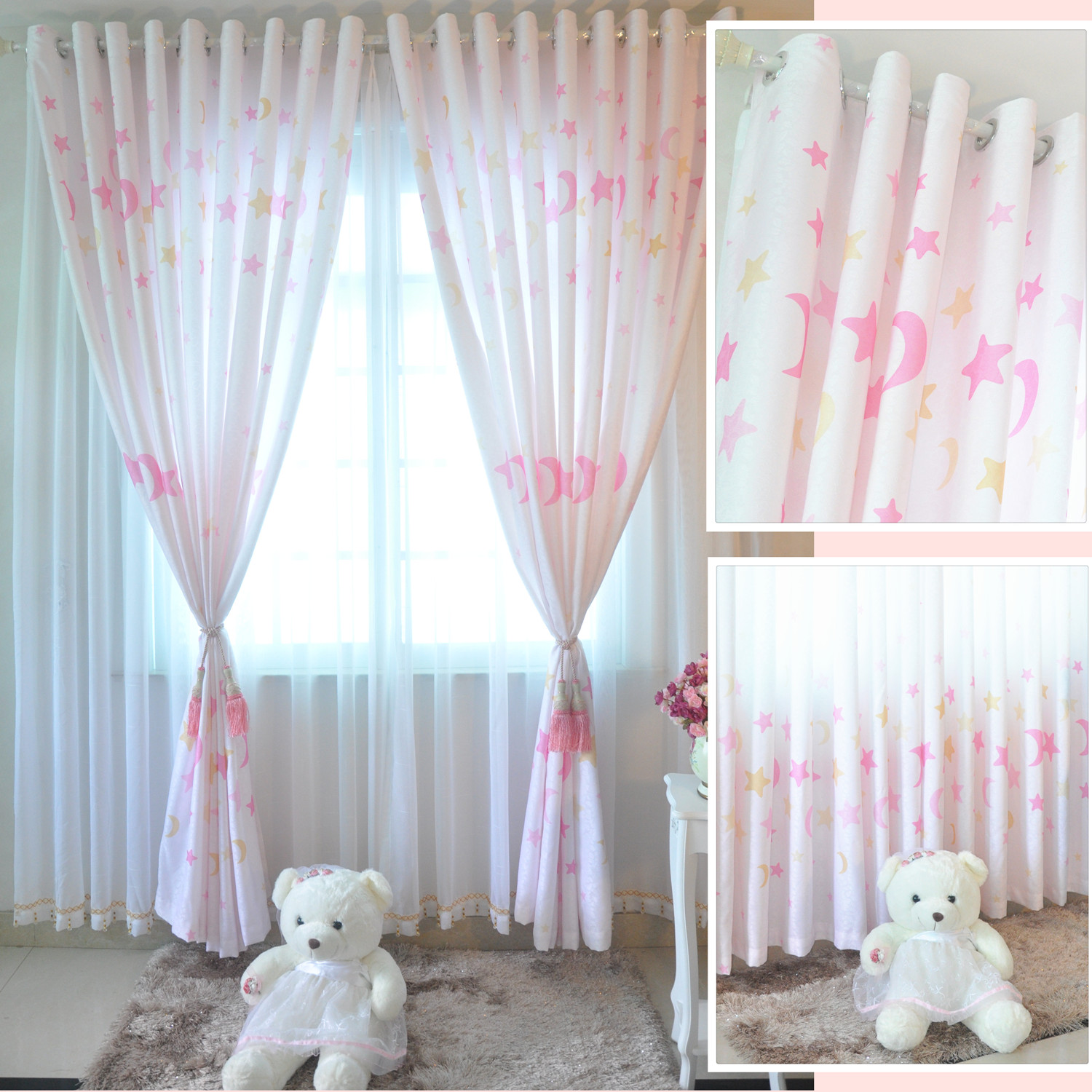 Curtain girl child princess real rustic finished products moon and stars