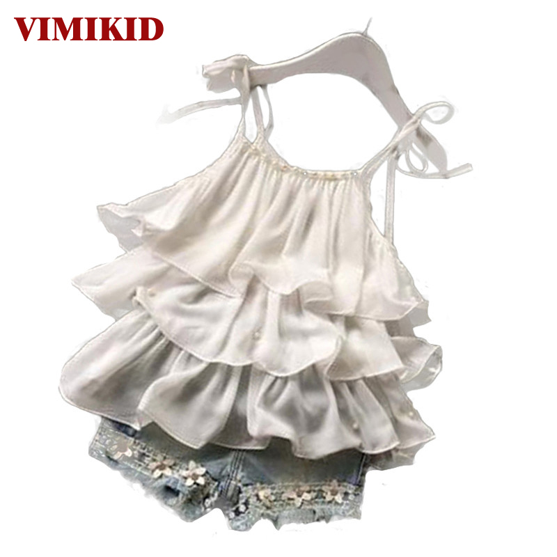 2016 Summer Korean children's clothing girls suit Chiffon cake sling + pants 2pcs pearl flower halter top denim shorts kids Set