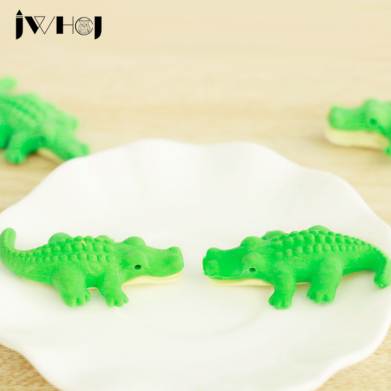 2 Pcs JWHCJ Novelty 3D Beast Shape Rubber Eraser Kawaii Stationery School Supplies Papelaria Gift Toy For Kids Penil Eraser