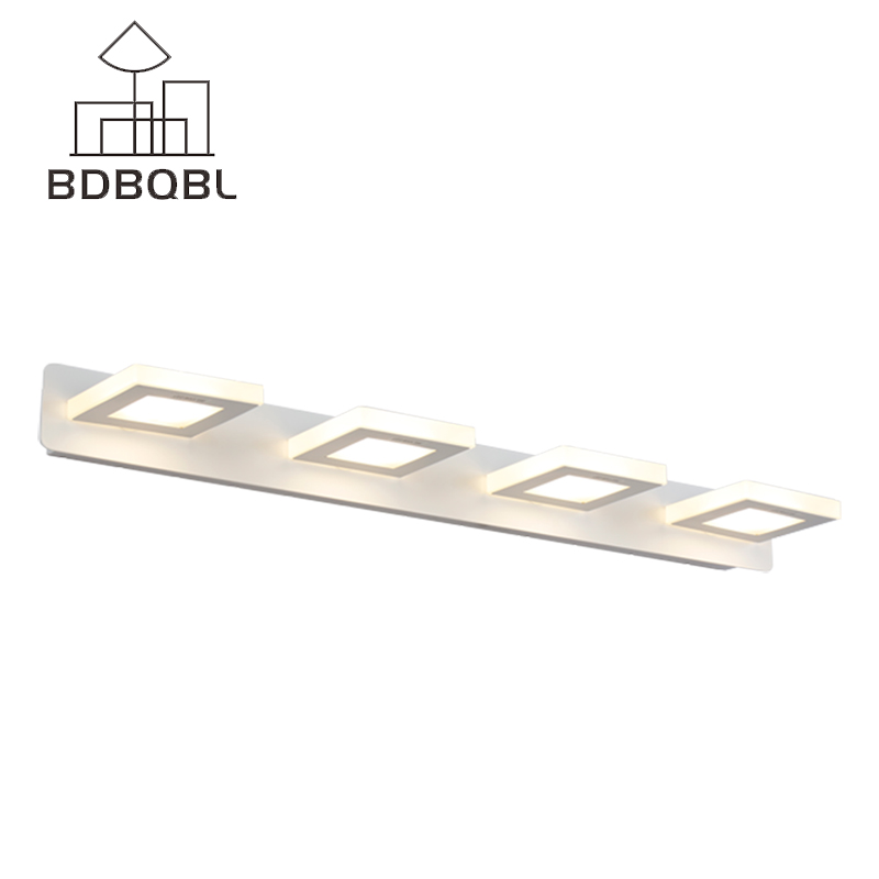 BDBQBL Square Mirror Light 32/48/60cm Wall Sconce Long LED Wall Light Fit for Bathroom Indoor Lighting Fixture Wall-Lamp New modern minimalist waterproof antifog aluminum acryl long led mirror light for bathroom cabinet aisle wall lamp 35 48 61cm 1134