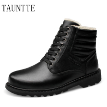 Winter Plus Size Ankle Boots Men Cow Leather Military Boots Fashion Keep Warm Work Boots Genuine Leather Martin Boots With Fur