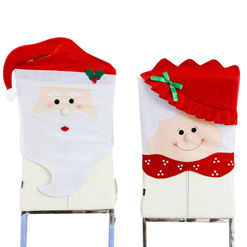 2016 Christmas Party Decoration Santa Claus Dining Chair Back Cover Cartoon Couple Antimacassar Decorations For