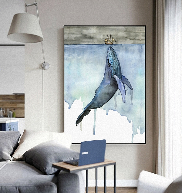 whale and sail boat nautical artwork living room decoration home wall art decor canvas fabric posters