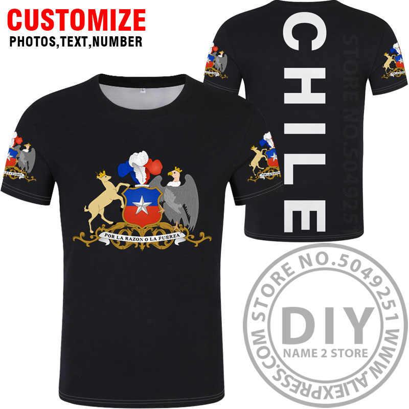 Чилийская футболка, сделай сам, Бесплатная, на заказ, с именем, номером chl, футболка, Национальный флаг, cl, чилийский испанский, черный, серый, для колледжа, с принтом, фото, одежда