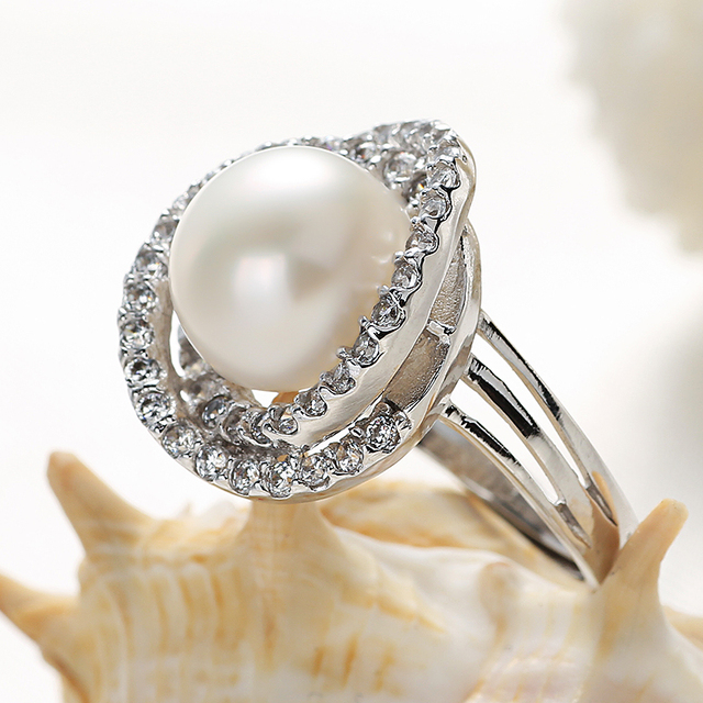2017 Black Adjustable Rings For Women With High Luster Pearl Ring Pearl Size 10-11mm Add Jewelry Box