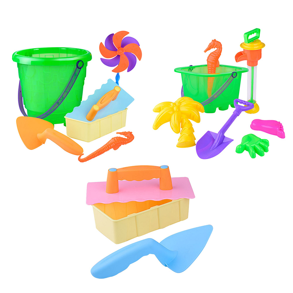 Plastic Beach Shovel Beach Bucket Windmill Sand Castle Toy Set 3/6/7pcs Kids Outdoor Beach Play Sand Toys Summer NEW