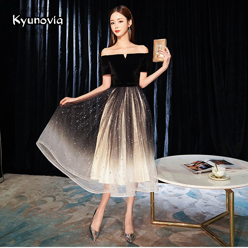 Kyunovia Elegant Off Shoulder A-Line black   evening     dress   Prom   Dresses   Formal Party   Dress   E11
