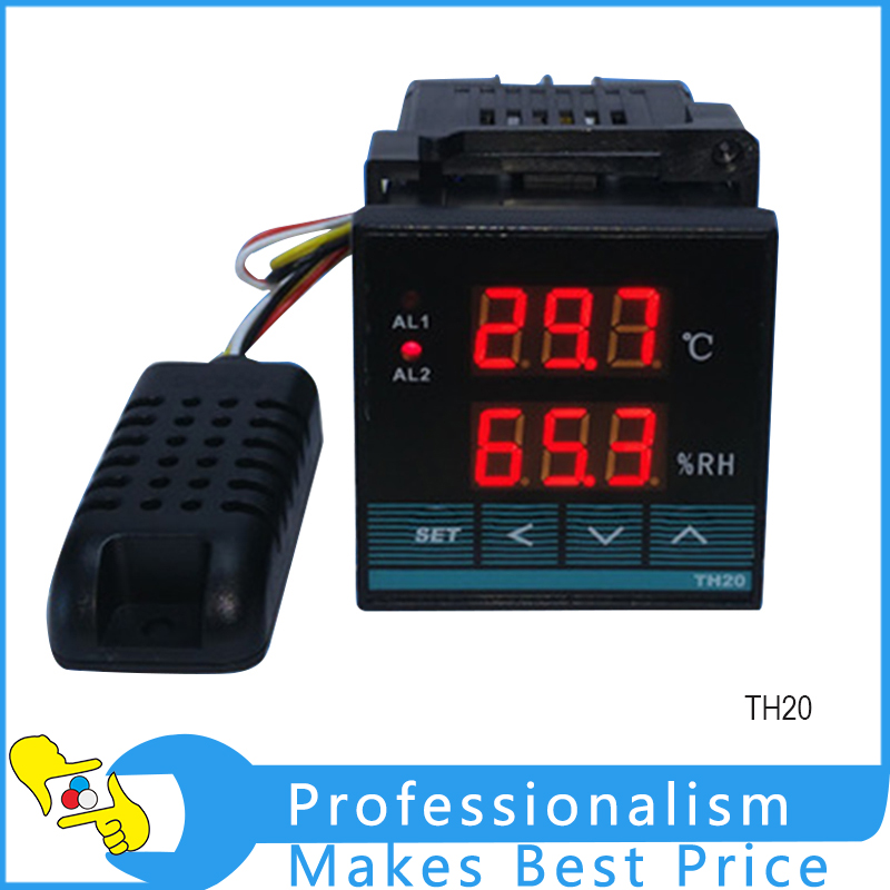 2 Digital Display TH20 Temperature Controller Smart Humidity Controller digital indoor air quality carbon dioxide meter temperature rh humidity twa stel display 99 points made in taiwan co2 monitor