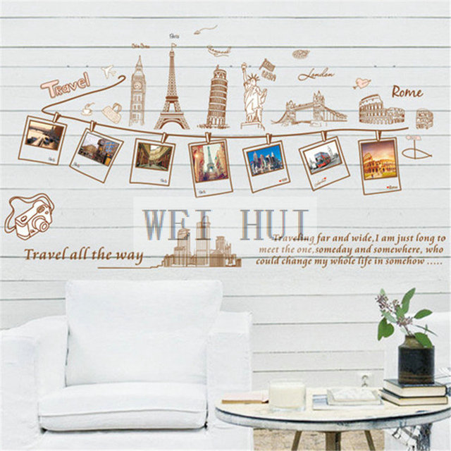 World Map Travel Famous Buildings Vinyl Mural Decal Wall Sticker ...