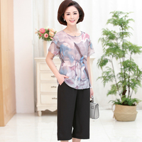 High quality 2018 new summer women's floral blouses with pants elegant ladies silk blouse shirts two pieces