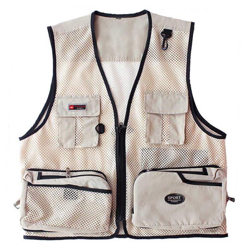 سترة لصيد السمك متعددة جيب سترة الرجال الصيف شبكة خارجية التصوير سترة الذكور الملابس الصيد المشي لمسافات طويلة التخييم الملابس