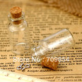 freee shipping!!! 150pcs/lot small clear glass bottle vials charms pendants 16*35*7mm-Glass bottle with cork and silver eyehook