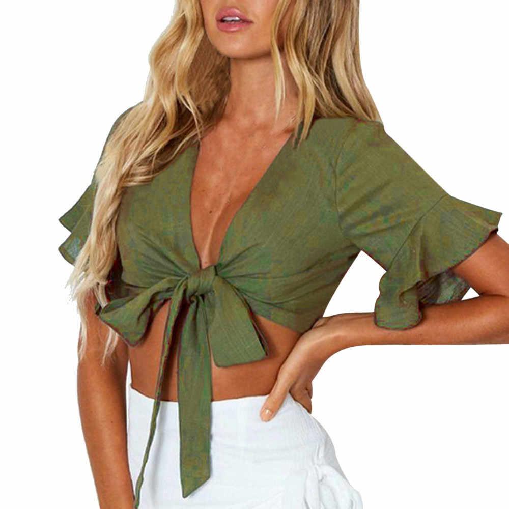 Женская модная повседневная майка, топы, однотонный жилет, блузка с расклешенными рукавами, футболка, женские летние топы 2019, укороченный Топ для женщин с бантом