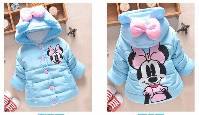 Hot sale Minnie mouse Baby Kids Girls Winter warm outwear with a hood cotton-padded jackets coat clothes girl winter thick coat