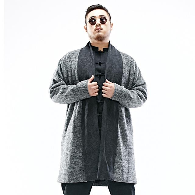 Dos homens de lã longo casaco cardigan de alta qualidade china retro moda casual soltas dos homens de inverno casaco de cashmere inverno novo jaqueta