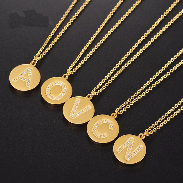 3umeter crystal letter necklaces custom baby name personalized gold 3umeter crystal letter necklaces custom baby name personalized gold coin pendants necklace beauty mother gifts for aloadofball Gallery